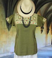 Olive & Cream Huipil Chiapas Mexico Hand Woven Mayan Boho Hippie Cowgirl Style