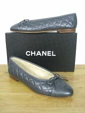 CLASSIC CHANEL CAVIAR LEATHER  LOGO QUILTED BALLERINA BALLET FLATS 40.5 NIB