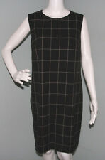 NWT Womens Ralph Lauren Black/Cream Plaid Leather Trim Sheath Dress Sz 14