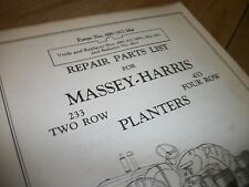 """Massey-harris 233 two row &433 four row planters """" PARTS LIST"""""""