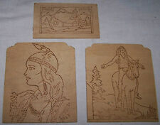 3-VINTAGE WOODBURNING-PYROGRAPHY WOOD PLAQUES-PICTURES-NATIVE AMERICAN INDIAN