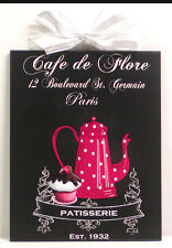 Shabby Cottage Kitchen Bakery French Cupcake & Coffee Pot Wooden Wall Plaque NEW