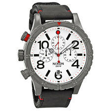 Nixon 48-20 Chronograph White Dial Black Leather Mens Watch A363486