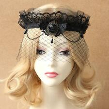 Vintage Goth Black Lace Queen Crown Elastic Veil Masquerade Headwear Bridal