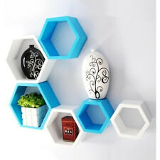 Onlineshoppee Fancy 6 Pcs Hexagonal Wooden Wall Shelf Big Color-White/Skyblue