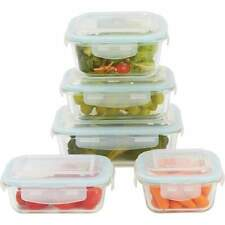 GLASS STORAGE CONTAINER SET LACUISIN FOOD 10PIECE LOCKING KITCHEN EASY LOCK LIDS