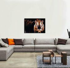 New LED Lighted Canvas Tiger Fire Wall Art Prints Picture Home & Office Decor