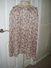BNWT MONSOON PEACH/BLACK SILK BLOUSE IN SIZE 22 WAS £59