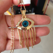 18K Gold Plated Muslim Arabic Turkish Evil Eye Pendant Sweater Chain Necklace