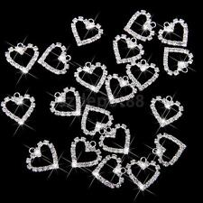 20pcs Silver Crystal Heart Charm Pendant Jewelry Bracelet Necklace Findings DIY