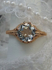 Victorian Natural White Topaz Sterling Silver Victorian Filigree Ring Size 7