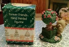 Forever Friends Vintage Bear with Rose Tree Figurine - In Original Box