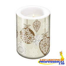 Christmas Table Decoration ELEGANT FROSTED LACES COPPER Large CANDLE H:12 Ø10cm