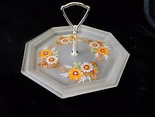 Westmoreland Handled Tray Daisy Satin Frosted Glass
