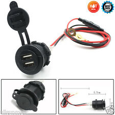 DUAL USB CAR MOTORCYCLE Cigarette Lighter Socket Charger Adattatore di alimentazione UK OUTLET