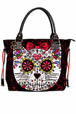 Banned Sugar Skull Kitty Cat Candy Handbag School Shoulder Bag Gothic Rockabilly