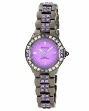 Armitron Womens Swarovski Crystal Purple Dial Gun Metal Band Watch 75/3689VMDG