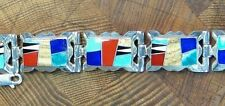 CALVIN BEGAY STERLING SILVER CORAL TURQUOISE JET INLAY BRACELET NATIVE AMERICAN