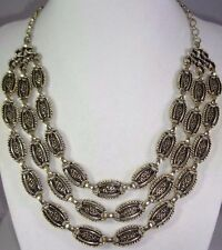 """SARAH COVENTRY 1960 """"DESERT FLOWERS"""" Triple Strand Antiqued Gold Tone Necklace"""