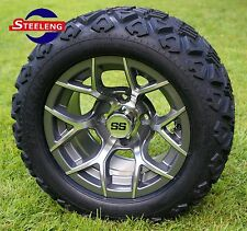 "GOLF CART 12""  GUNMETAL RALLY ALUMINUM WHEELS and 20"" AT TIRES (SET OF 4)"