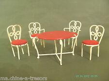 SALON DE JARDIN DE POUPEE ANCIEN. FER FORGE.1 TABLE RONDE/2 FAUTEUILS/2  CHAISES