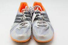 TC22 ADIDAS TITAN LD SIZ 10 US SILVER BLACK AND NEON ORANGE MEN'S KEY 12 SPIKES
