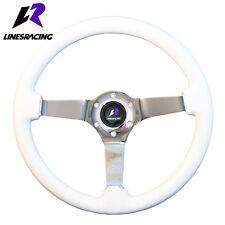 14″ White Wood Grain Steering Wheel 6 Bolt 3″ Dish Chrome Spoke+HORN For MAZDA