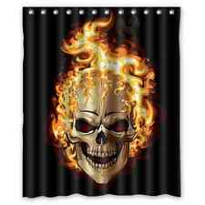 Brand New Skull on flaming Shower Curtain 60 x 72 Inch