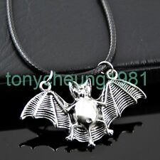 Cool vampire bat blessing silver pendant leather necklace cosplay XL447