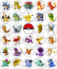30 x Pokemon Fun Party Edible Rice Wafer Paper Cupcake Toppers