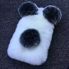 Luxury Bling Diamond Cute Warm Panda Bear Furry Soft Rabbit Fur Hair Case Cover