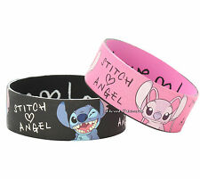 "NEW Disney Lilo & Stitch Heart LOVE ANGEL Rubber Bracelet 2 Pack 1"" Wristband"