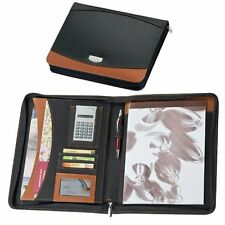 EXECUTIVE CRISMA BUSINESS A4 ZIPPED CONFERENCE FOLDER LEATHER DOCUMENT CASE NEW