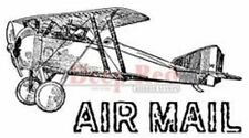 Deep Red Rubber Cling Stamp Vintage Inspired Air Plane Air Mail