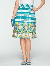 NEW $89 TALBOTS Turquoise Stripe,Floral Pleated Cotton Skirt Sz 10P,10 Petite