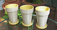 """SET OF 3 7"""" TALL CERAMIC PLANTERS WITH SAUCERS FLOWER POTS YELLOW INSIDE"""