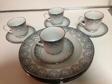 11 PIECE TOTAL ROYAL PRESTIGE MOON SHADOW CHINA PLATES, SAUCERS, TEACUPS.
