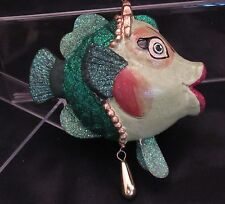 Katherine's Collection Green Egytian Princess Kissing Fish Ornament ~ Retired
