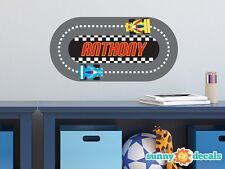 Racing Track with Custom Name Fabric Wall Decal - Customized Name Decal