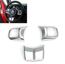 Chrome Steering Wheel Cover Trim For Jeep Wrangler Compass Patriot 11-17 (3 Pcs)