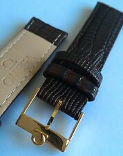 OMEGA WATCH 18MM BROWN BAND , OMEGA GOLD PLATED VINTAGE WATCH BUCKLE
