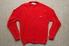 VTG 80s IZOD LACOSTE RED ACRYLIC PREPPY CARDIGAN SWEATER RETRO CASUALS MENS S/M