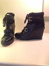 BLACK MICHAEL KORS HIGH HEEL WEDGE BOOTS UK SIZE 7.5 (US 9.5M) *LITTLE USE""