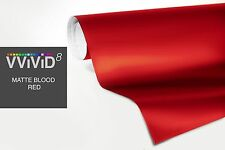 VViViD8 5 x 50ft BLOOD RED MATTE FLAT CAR VINYL WRAP 3MIL CAST FILM 50 SQRFT