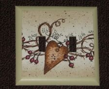Hearts Berries Double Country Primitive  double Switch plate light cover