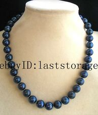 "freshwater pearl deep blue 11-12mm round AA necklace 18"" nature beads cultured"