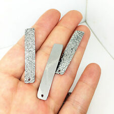 20Pcs Stainless Steel Textured Bar Pendant Charms Findings 8.5x42.5mm