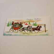 Vintage Greeting Card Christmas Stage Coach Horses