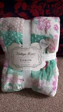 Vintage Home Patchwork Floral Print Blanket Throw & Super Soft Throw New