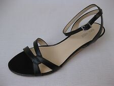 Nine West Womens Shoes NEW $90 Valaria Black Leather Ankle Wedge Sandal 11 M